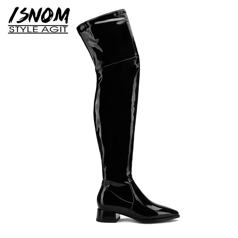 ISNOM Patent Bottes en cuir femmes Cuissardes Toe Boot Pointu Talons épais Chaussures Femme Chaussures Zip Ladies hiver Taille Plus 45
