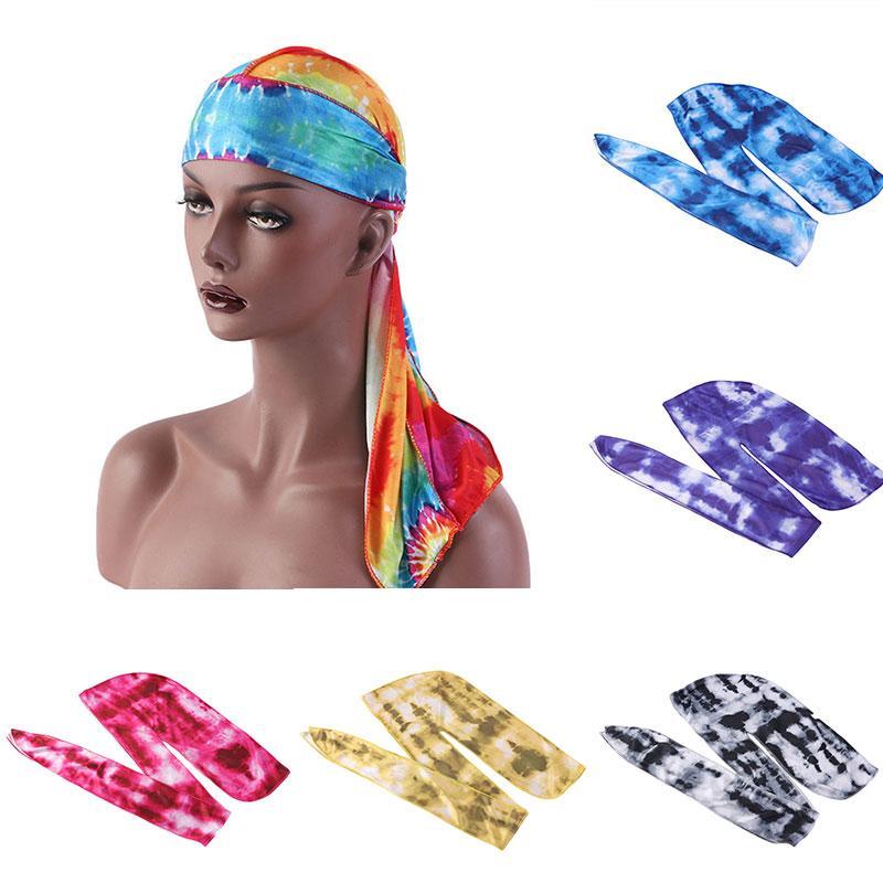 seta Durags BandanasTurban cappello da uomo Colroful Parrucche Doo Uomini Durag Biker fascia del raso della coda lunga di Du-Rag Headwear Accessori per capelli
