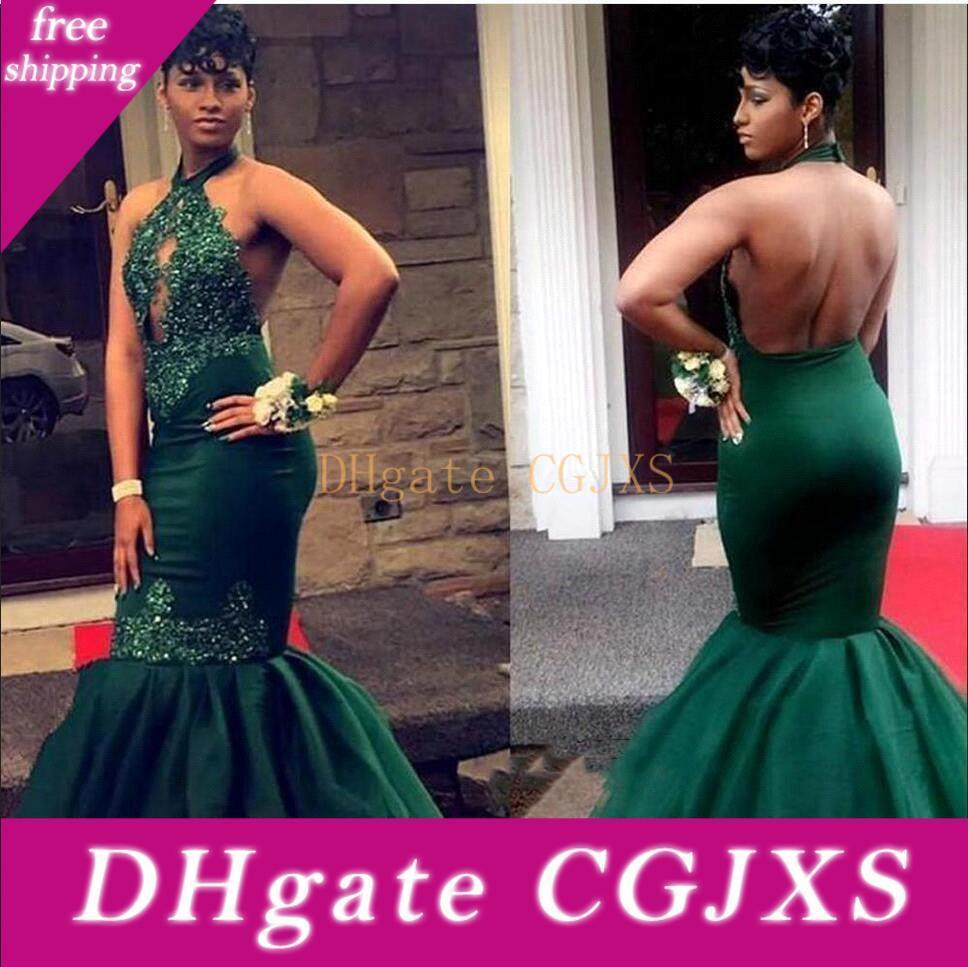 Verde oscuro sirena 2k19 del Sur de África Prom vestidos negros niñas cabestro ojo de la cerradura de cuello apliques acanalada Abiertos atractivos detrás vestidos de noche