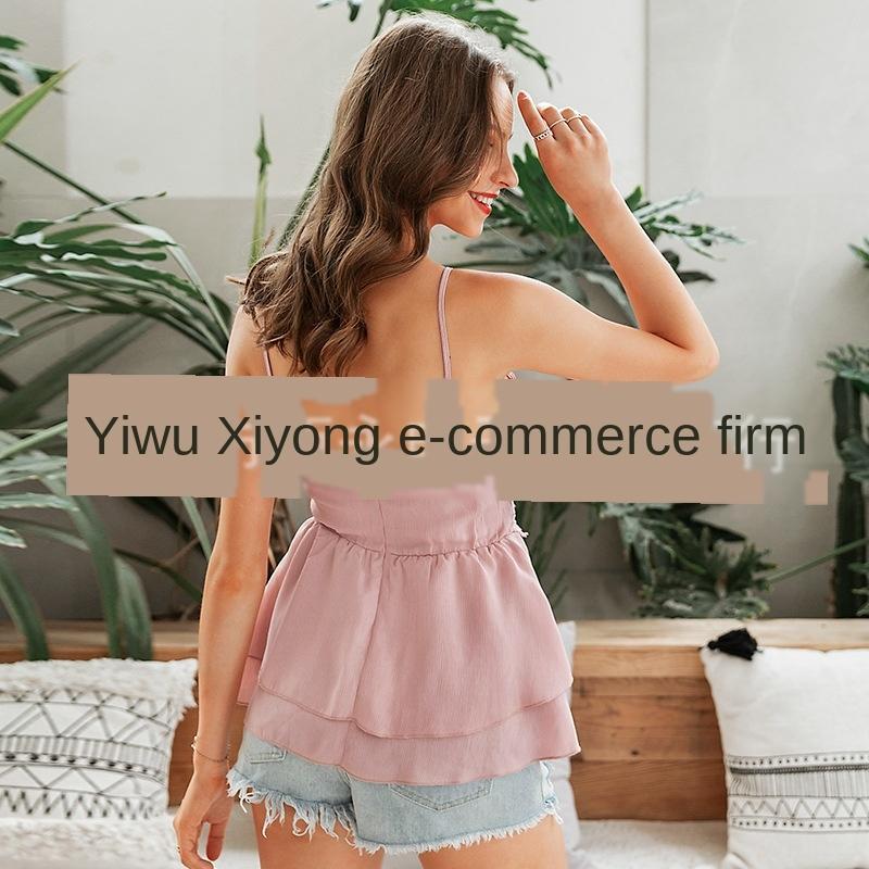 2020 primavera y el verano superior de las mujeres del chaleco del cordón del chaleco nuevo color sólido del cordón costura chaleco de la tapa correa de casa atractiva para las mujeres