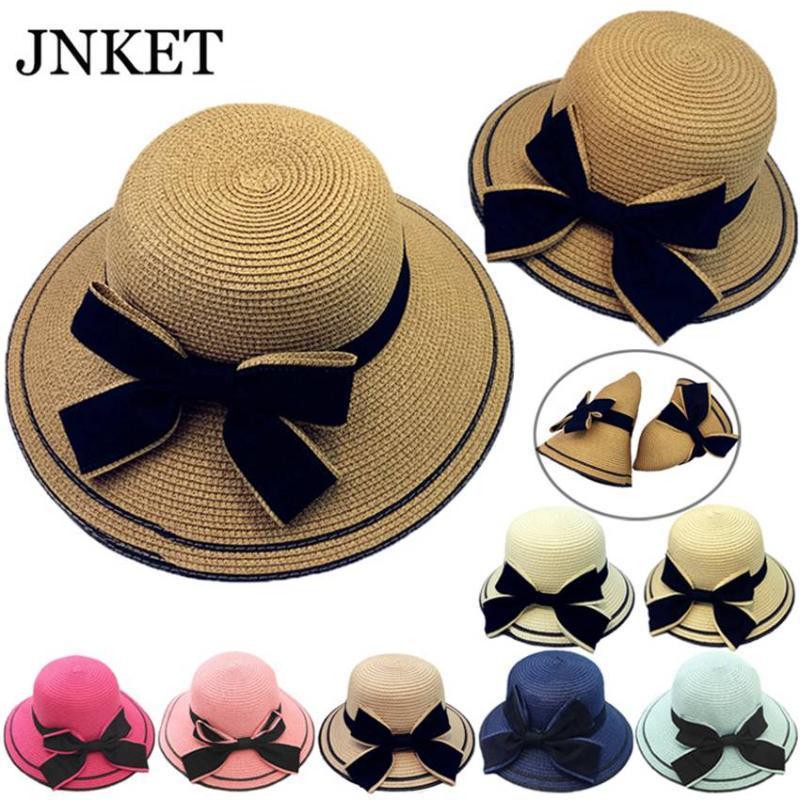 JNKET Мода родитель-ребенок Straw Hat Bowknot широкими полями ВС Hat Summer Beach Открытый Sunhat Складная Sunbonnet Cap