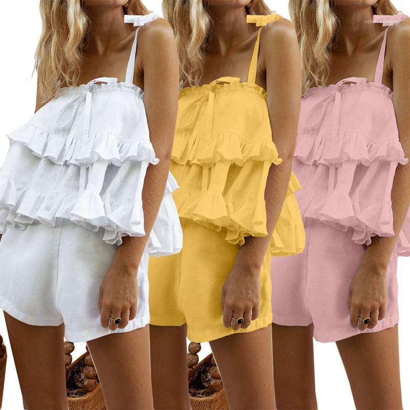 Katı Renk Sling Kolsuz Yaz Moda Kadın eşofman fırfır Tasarımcı Kadınlar Tracksuits Tatlı Seksi 2 Adet Shorts Tops