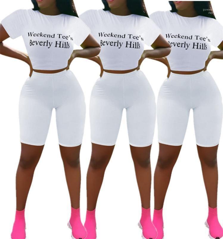 Vêtements d'été cou Sexy Longueur genou Casual Survêtements femmes Lettre Sexy Imprimer Costumes blancs d'été Crew