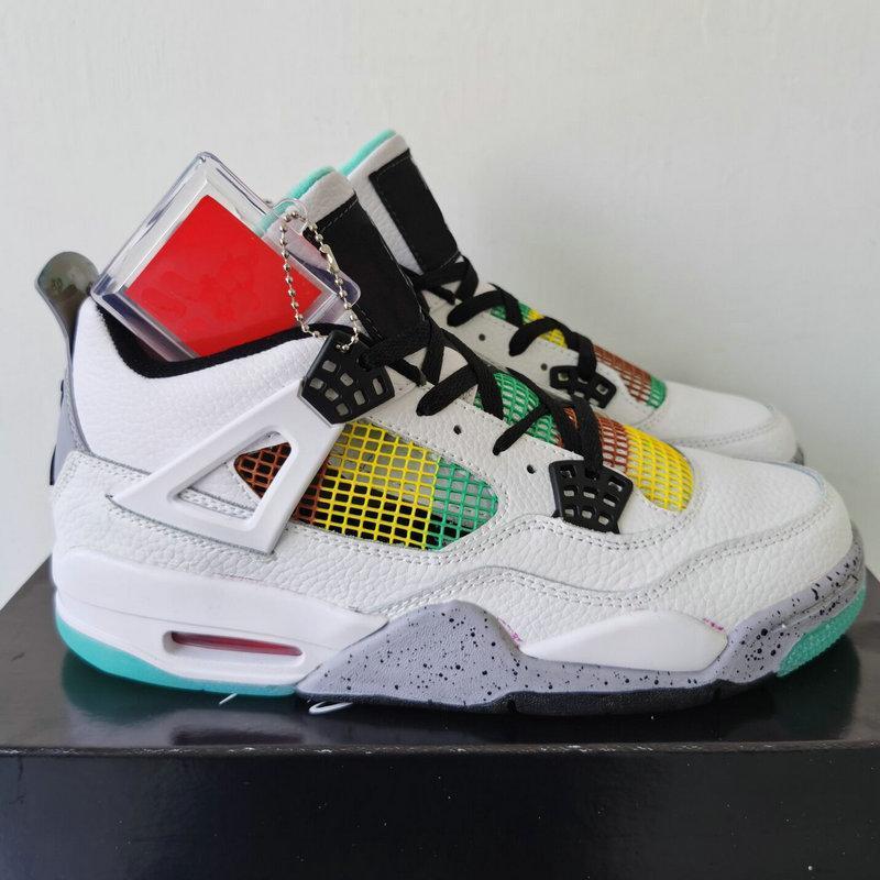 2020 Nuovo Rasta 4 4S scarpe da basket per la pelle maschile Carnevale Lucid Verde Bianco Cesti Sport Sneakers Trainers Scarpe Chaussures Size 13