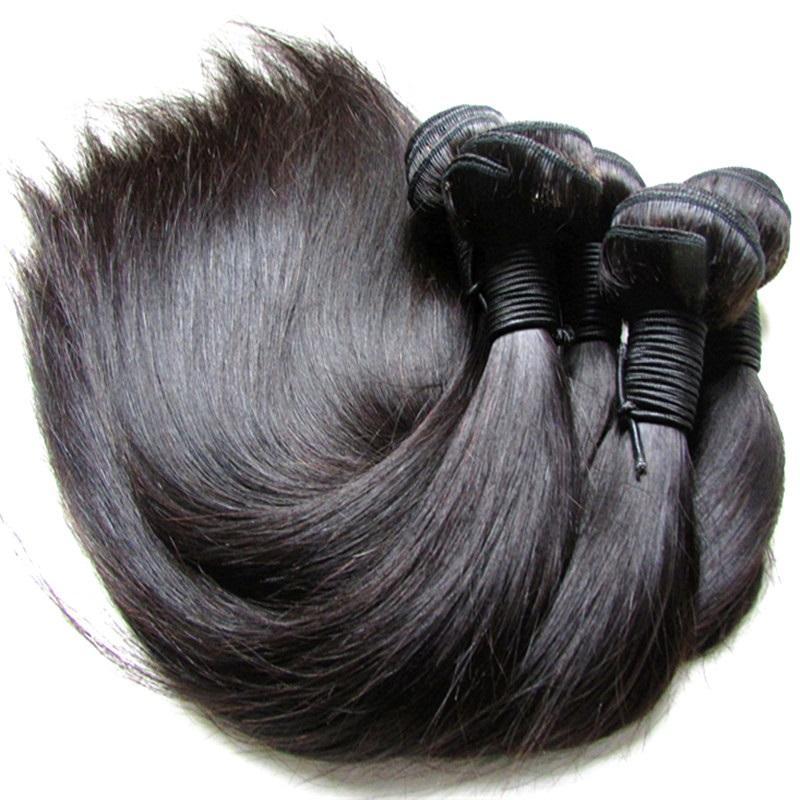 Wholesale Unprocessed Brazilian Silk Straight Virgin Human Hair Bundles 1Kg 10Pcs Real Cuticle Aligned Virgin Hair Cut From One Donor