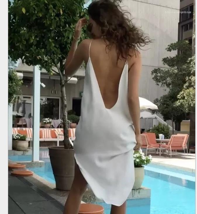 Kleider Frauen Chiffon V-Ausschnitt Sexy Kleid-Sommer-Frau festen Spaghetti-Bügel-Backless Split beiläufige Kleid Frauen Fashion Irrgular Ferien