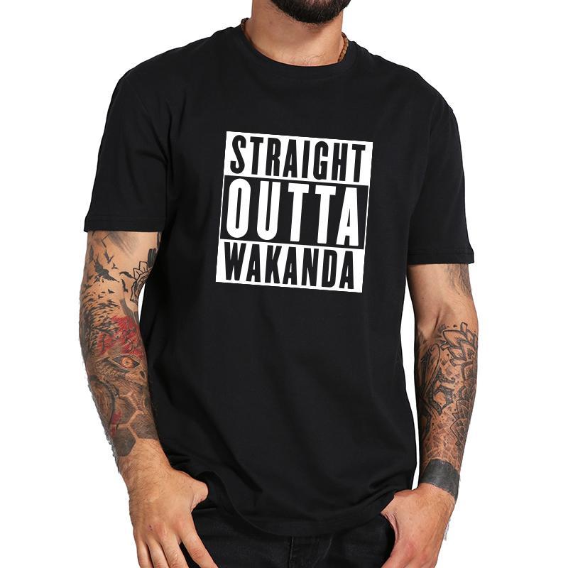 Straight Outta Wakanda-T-Shirt Film-Witz-Hemd lässig schwarzes Gift Brief Männer T-Shirt Hip Hop Hipster T Homme