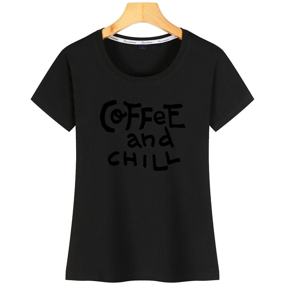 Engraçado café e refrigere mulheres T louco New Style Plus Criar Camiseta Para Mulheres