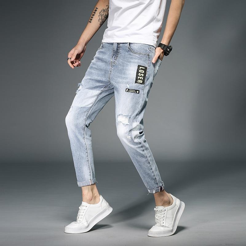 Verano arrancó 9 pantalones vaqueros ocasionales de los pantalones de 9 puntos de estiramiento flaco estilo coreano denim estudiante nuevas cónico hombres y los pantalones vaqueros