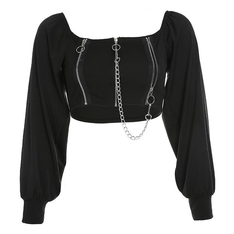 Weekeep Kare Yaka Fermuar Metal Zinciri t gömlek Kadınlar Siyah Uzun Kollu Streetwear Tee Gömlek Femme En T200813 kırpma