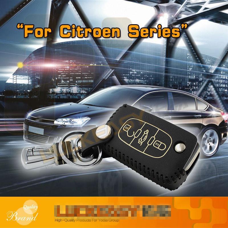 Ключа автомобиля сумка OEM для Citroen C5 2010-2019 C-Triomphe 2008-2020 Grand C4 оболочки случае держатель ключа автомобиля Kraft крышка ключ первый слой