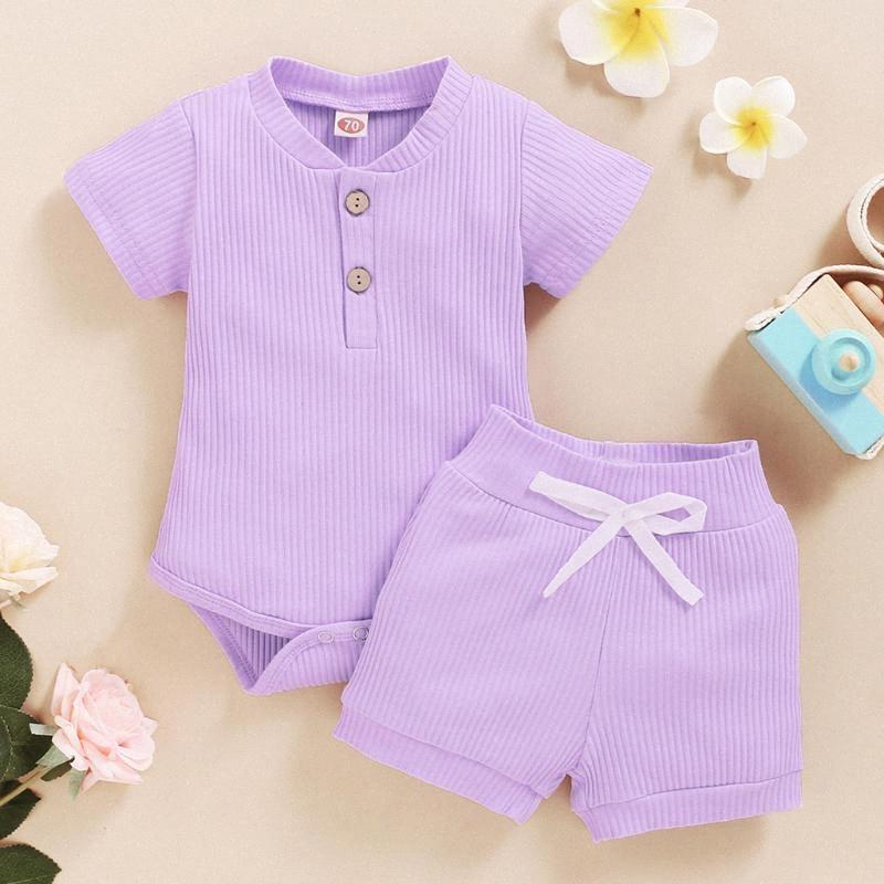 Bebek Karikatür Giyim Bebek Katı Romper bodysuit + Şort 2020 Yaz Bebek Dış Giyim Kısa Kollu Çocuk Casual Set 50Lc # ayarlar