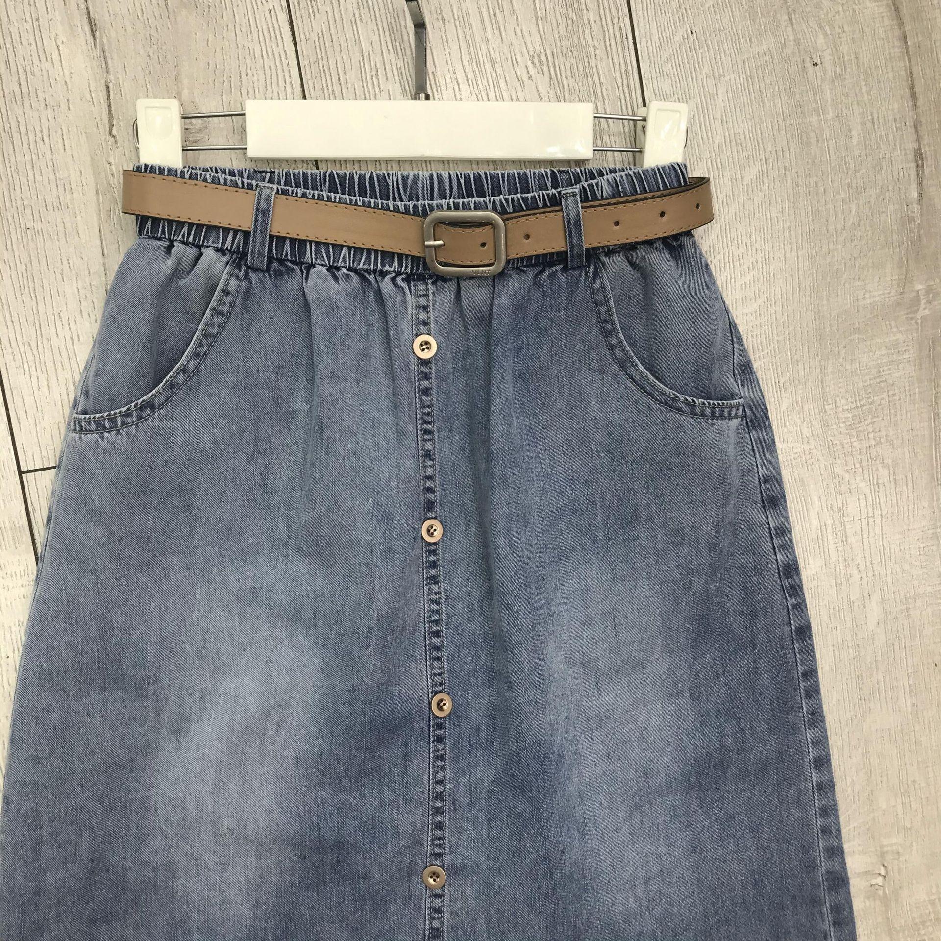 8xoyS hdbls 2020 denim mince robe simple boutonnage robe d'été petite mode ligne A jupe nouvelle casual jupe en denim split minceur tout match
