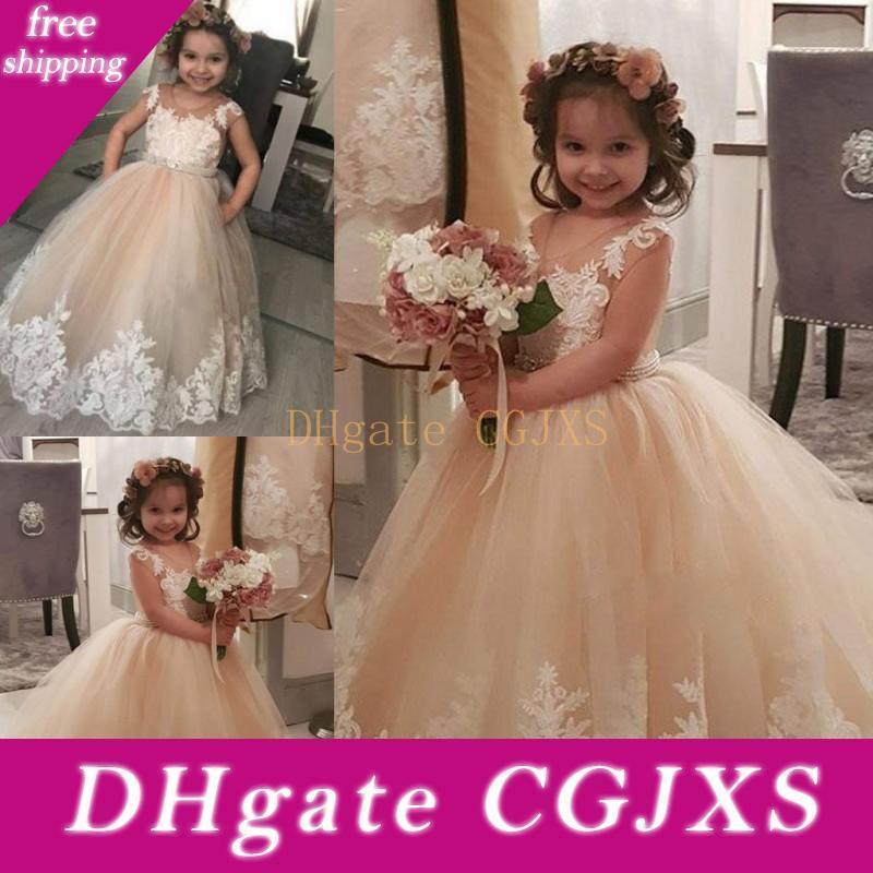 Champagne Ballkleid-Blumen-Mädchen-Kleid für Hochzeit 2019 SpitzeAppliques Tüll bodenlangen Mädchen-Festzug-Kleid-Baby-Geburtstags-Party-Kleid Günstige