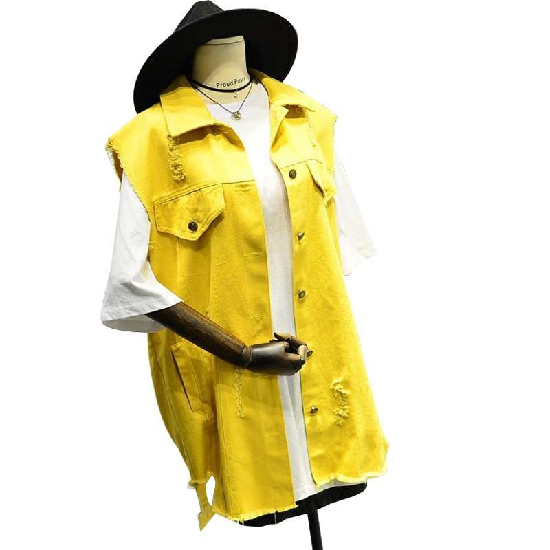 Jaune oversize manches Veste femme Veste en denim noir coréenne desserrées Jeans Manteau Cardigan Blanc Asymétrie Trou Femme Outwear CX200813