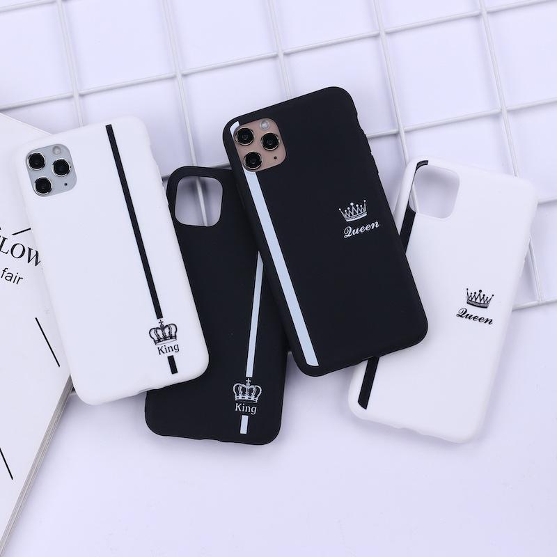 JAMULAR Re Regina amanti caso delle coppie di iPhone X XS MAX X XR 11 Pro SE 2020 Bianco molle del silicone sacchetto della copertura del Phone 7 8 6Plus nero