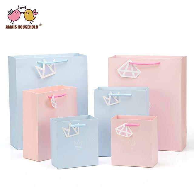 100pcs Pink Blue Wedding Birthday Party Baby Shower Return Gift Packaing Bag With Diamond Print Handle Wholesale