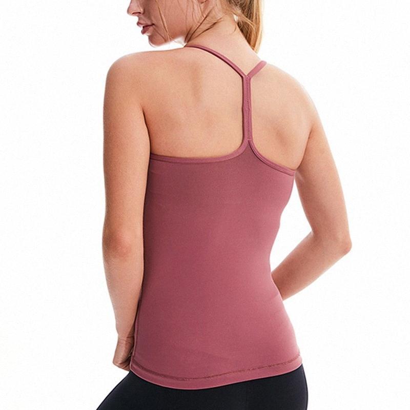 Yoga mujeres del chaleco de la aptitud con el cojín del pecho a prueba de golpes gimnasia chaleco transpirable fitness ropa ajustada sin mangas corrientes del deporte de las tapas del tanque crQs #