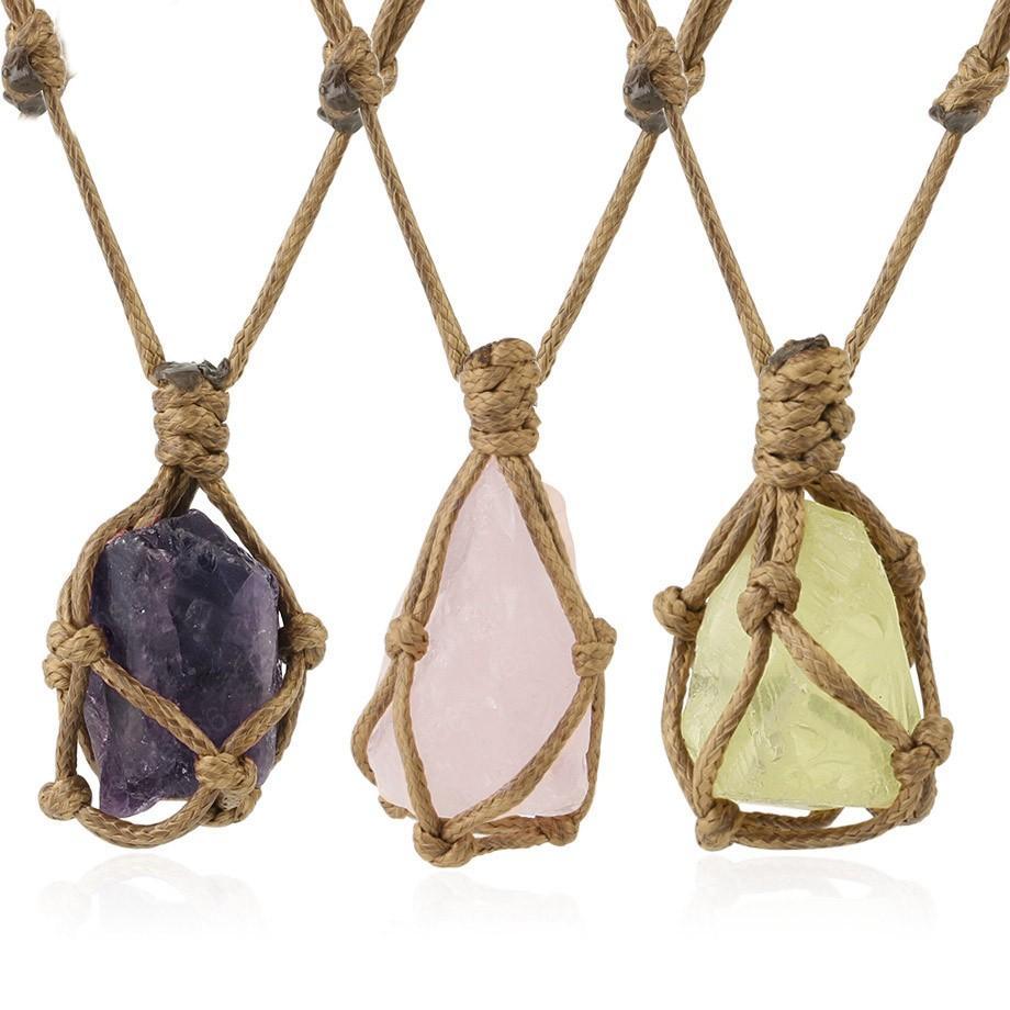 Crystal irregular de piedra natural de la cuerda del abrigo del cuarzo del collar curativo collares pendientes de la joyería ajustable Mujeres Hombres Retro