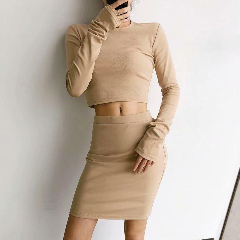 Весна Нового T- стиль короткий тонкий с длинными рукавами футболки сплошного цвета базовой рубашкой блузка 10