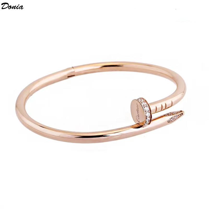 Donia Schmuck Designer-Armband Nagel klassische Titan Stahl Mikro Intarsien Zirkon Armband für Männer und Frauen Luxus-Armband