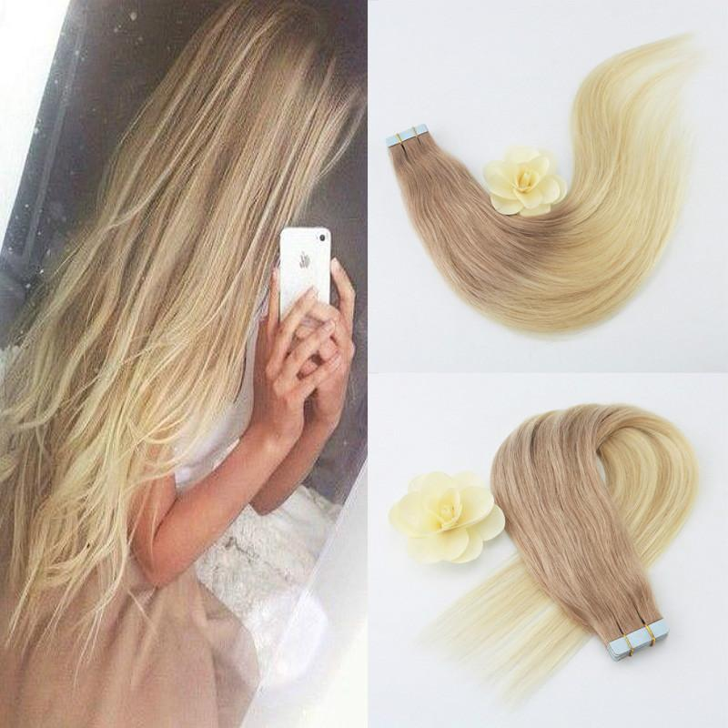 Cinta del cabello brasileño recta en extensiones del cabello 100 por ciento de cabello humano Ombre Color 18 # 613 para al por mayor