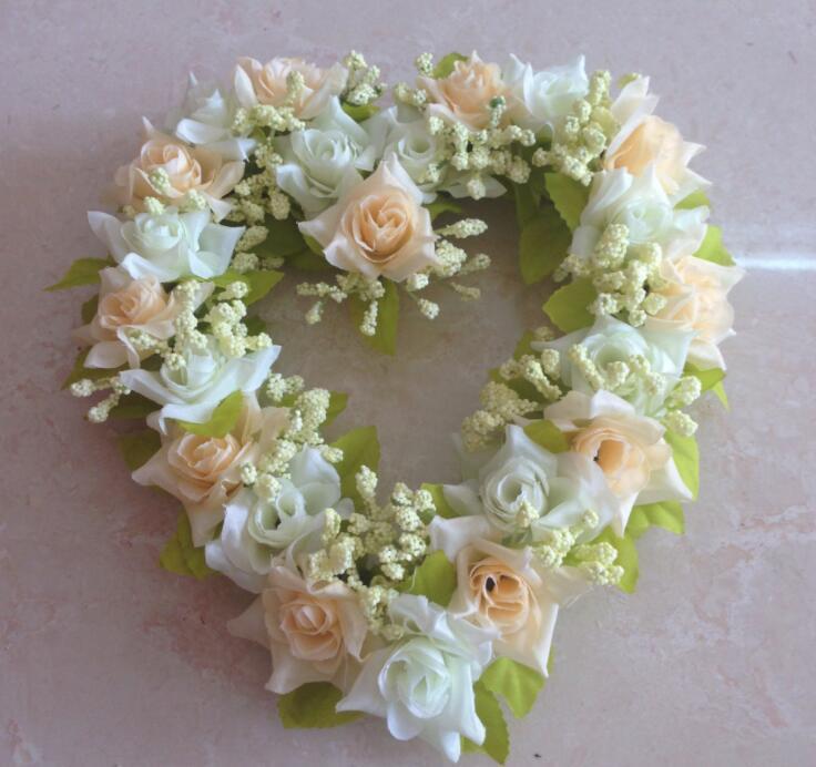 guirnalda de novia de seda en forma de corazón de simulación de la decoración festiva GB574 flor