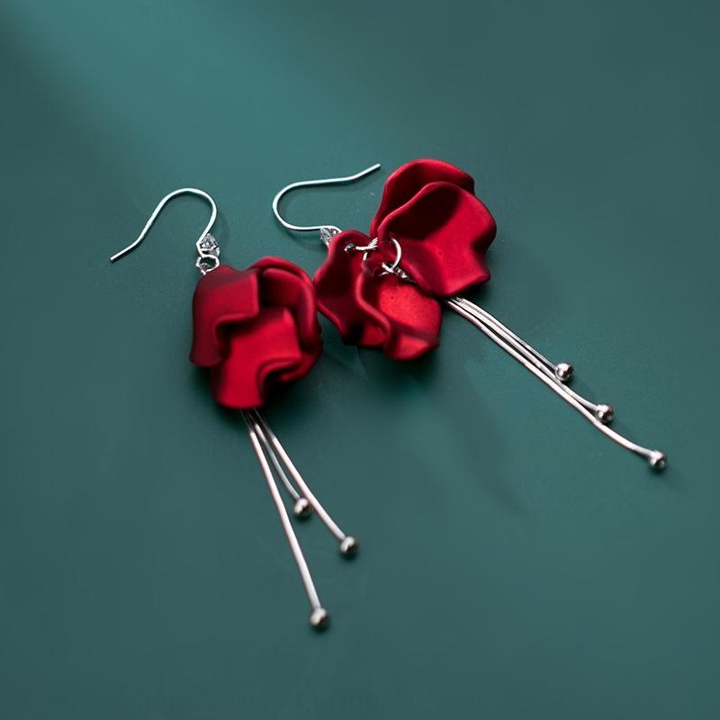 серьги S925 серебро Корейский стиль Iroch бусины элегантный длинные лепестки розы серьги элегантные серебряные шарики кисточкой и G5519 oFgOB