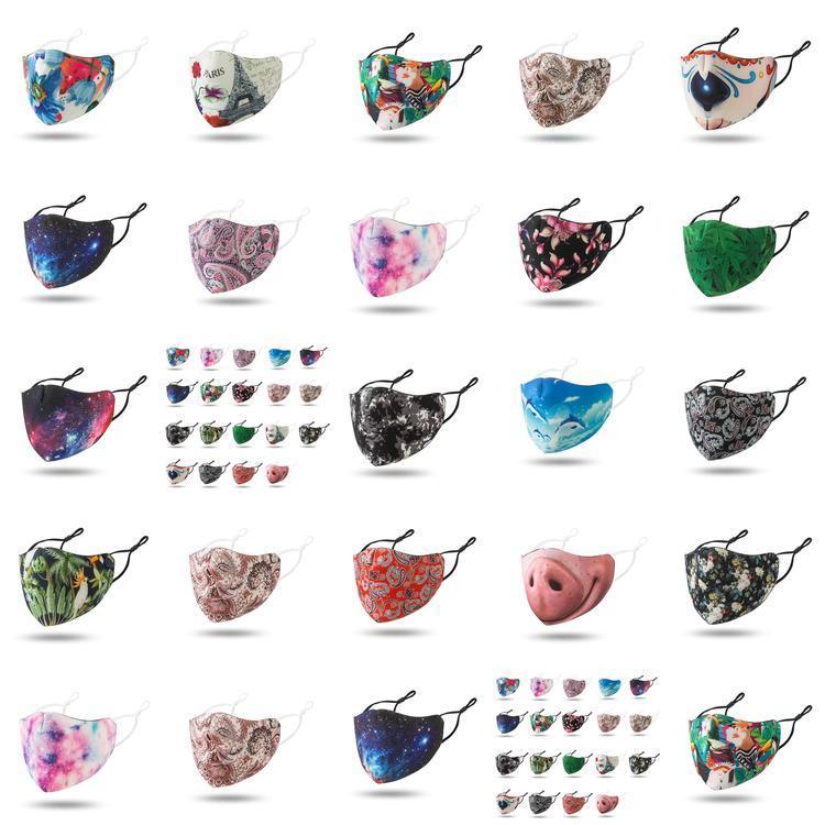 Cara de plata diseñador de la máscara Máscaras nariz reutilizable máscara divertida Mascherine alta moda de tela lavable Negro Rojo cielo estrellado para adultos