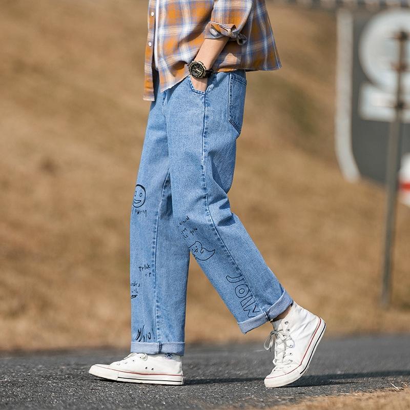 2020 erkek kot ve kot Kore tarzı moda gevşek erkekler düz geniş bacak baba pantolon her maç lq5U7