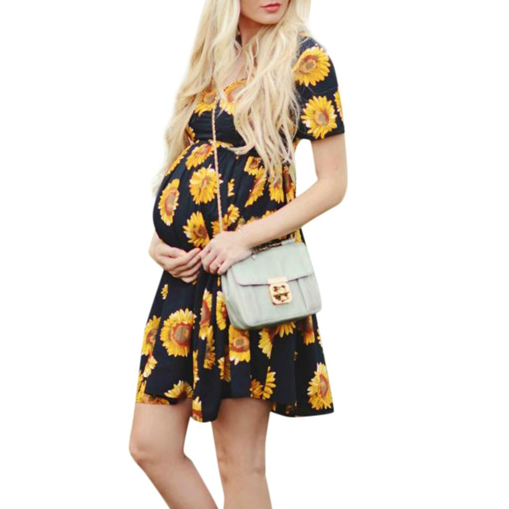 Clearance new Dresses Maternity Clothes Pregnancy Pregnant Casual Floral Falbala Pregnants Dress Comfortable Sundress