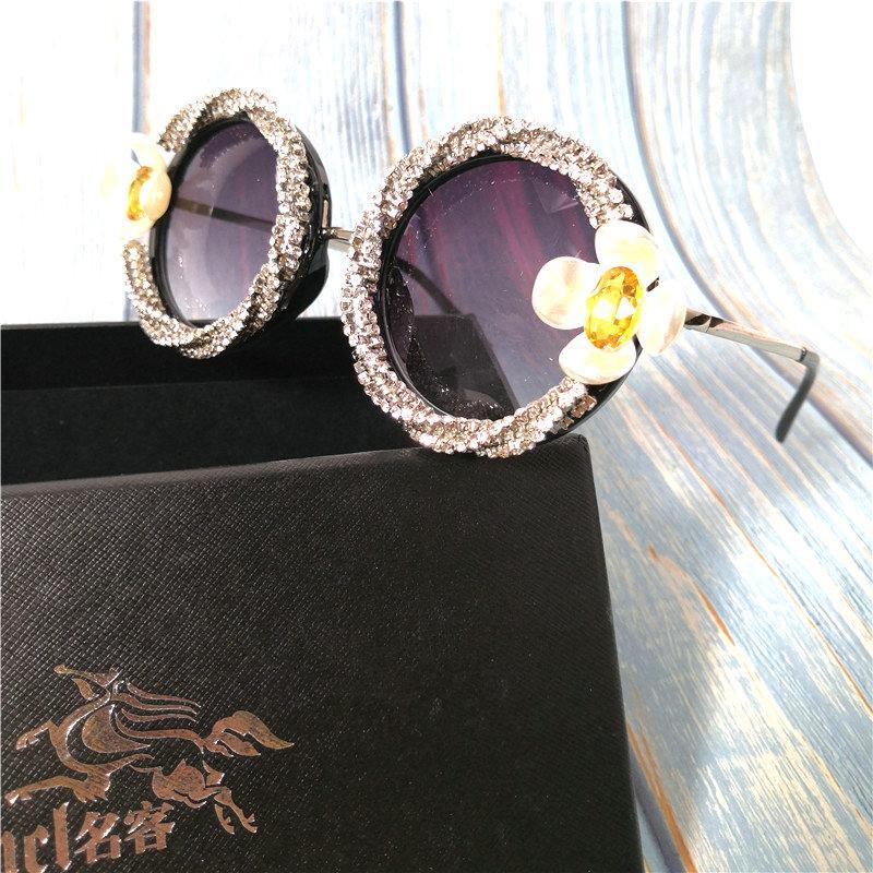 Lunettes de soleil féminines 2020 rondes femmes soleil rétro pour cadre surdimensionné grand diamant rose lunettes shadches lunettes de soleil fml mtmqt