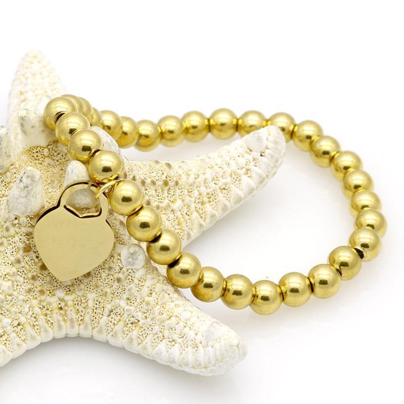 Edelstahl-Schmuck Mode Pfirsichherzart Armband Perlen Kette weibliche Titan Roségold Silber Armreif für Mann Stahl Schmuck