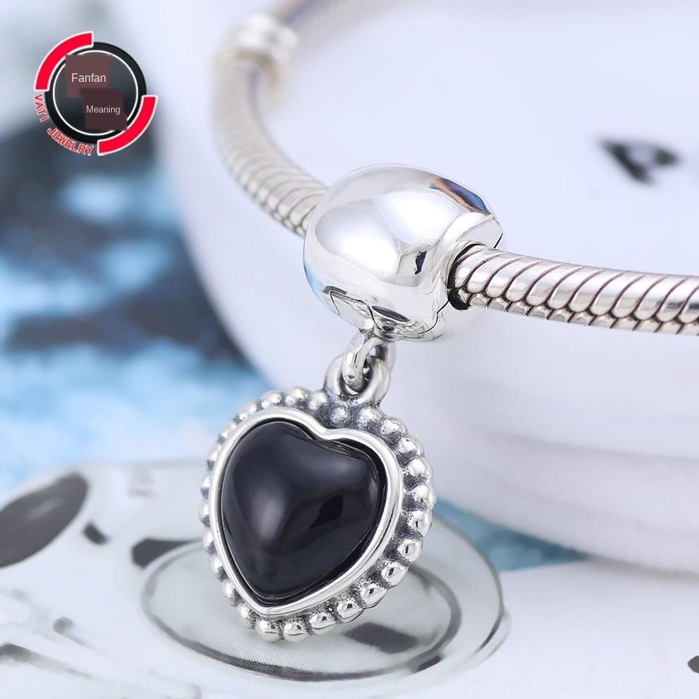 Van Pandora di Pan Jia 925 perline in argento sterling amore nero braccialetto ciondolo catena pendente chain
