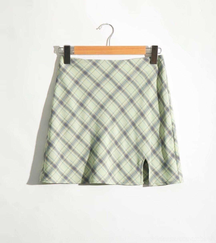 A- ЮБКА A- линия 3WkZm M1714-Wind Женская юбка одежда 2020 лето бедра, покрытые коротким Девичий стан Плед новый высокой линии раскола Overskirt
