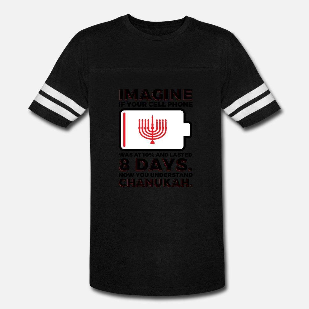 Milagro de Janucá menorá de Janucá divertidos hombres camiseta de manga corta impresa Crew Neck camisa fresca de regalo nuevo de la manera verano Ocio