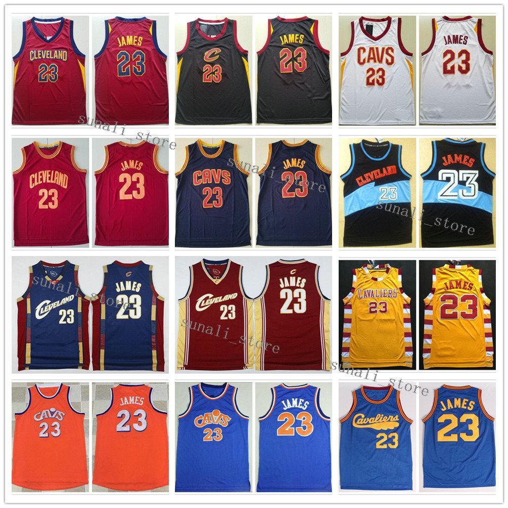 Hombres cosidos LeBron James 23 Jerseys Baloncesto Retro Rojo Rojo Color Negro Color Deportes Camisas Venta al por mayor
