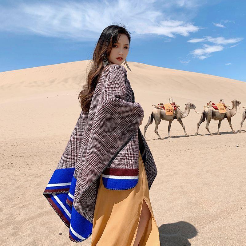 UVjL0 outono e inverno dia grade pássaro Qinghai Lake turismo Quente divisão das mulheres xale cachecol xale feriado lenço capa espessa escritório verão w