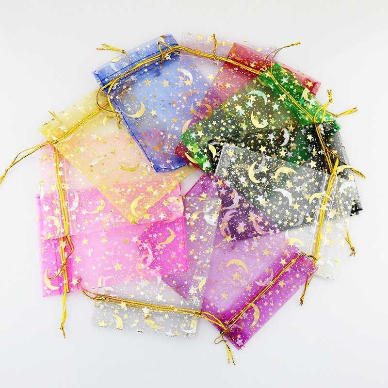 100pcsMoon Stella Organza Bags Piccolo Natale con cordoncino sacchetto del regalo dei monili di fascino Sacchetti per imballaggio Sacchetti 7x9 9x12cm
