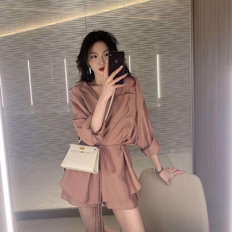 b6P9Z lungo 2019 temperamento estate e sottili sole tuta di protezione Shorts elastico camicia vita mette casuali + clavicola lace-up eqVcp shirt Donna di