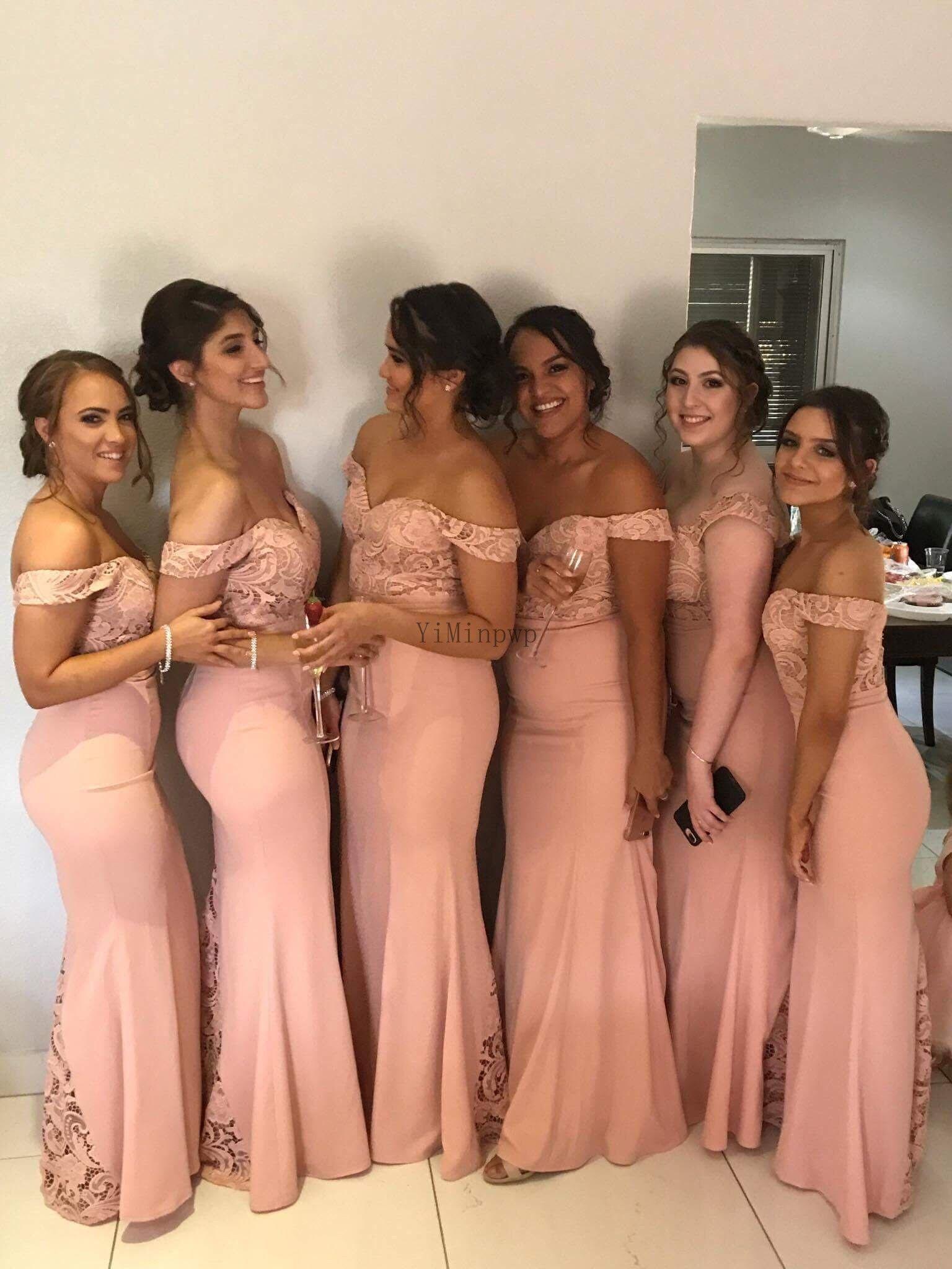 Blush cor-de-rosa sereia fera dama dama de honra fora do ombro chão comprimento lace jardim casamento convidado vestidos de festa doméstica vestido de honra árabe