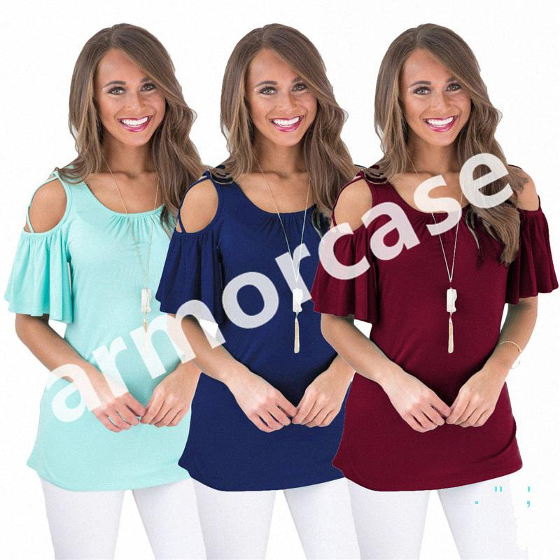 Womens Designer T Shirts Ruffle Off Shoulder Short Sleeve T-shirt Tops Females Solid Color Tee Summer Sexy Bare Sleeve Clothes Blouse YAKi#