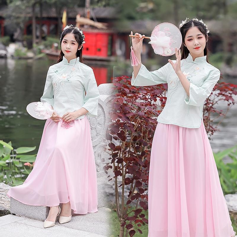 Женская хлопок и лен белый сценический костюм новый Hanfu yuexixiang производительности костюм куртка китайский стиль Stage одежды Длинные одежды юбки