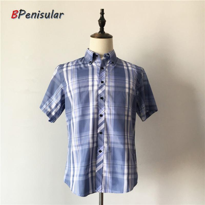 2020 del verano ponen en cortocircuito las camisas de los hombres camisa a cuadros informal solo pecho gira el collar abajo Marca del asunto azul a cuadros de la blusa para los hombres
