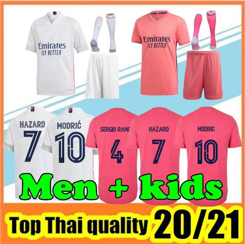 2020 2021 Реал Мадрид Джетки 20 21 Футбол Джерси Опасность Sergio Ramos Benzema Модрические Камиссета Футбольная Рубашка Униформа Мужчины + Детские Комплекты Наборы