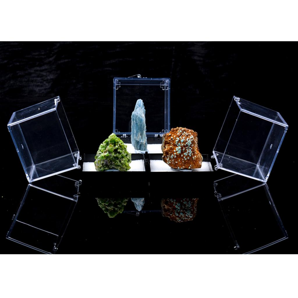 3x3x3.5cm прозрачный пылезащитный чехол Дисплей с Balck базой для Rock Collection Минеральный