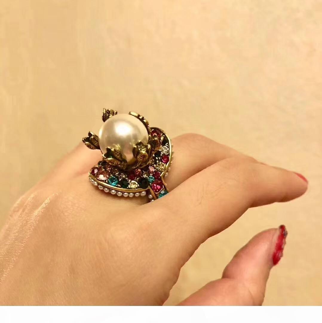 Vintage латуни роскошное кольцо с природой красочного жемчужного украшения очарования кольца ювелирного изделиями Рождества День благодарение Valentin