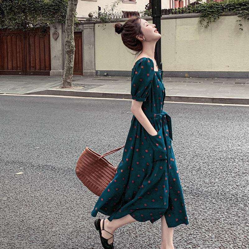 Kz8Vu B5BMH elbise Kadın 2020 yeni bel zayıflama şifon kadın canlı tarzı yeni sevimli Hepburn moda tatlı Fransız yazlık elbise moda