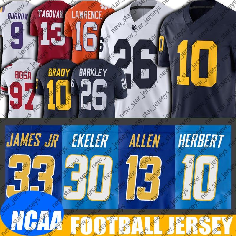 NCAA Michigan Nick Bosa Joe Burrow Jersey 8-26 Justin Herbert Jersey Austin Ekeler Keenan Allen Jerseys Joey Bosa Derwin James Jersey