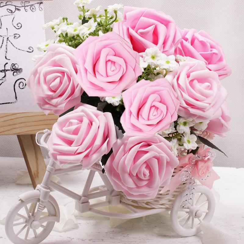 10 / 25шт 8см пена искусственная роза многоцветные розы свадьба рука проведение искусственный цветок украшение melsnajsd поделки